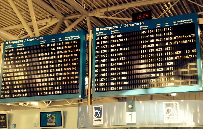 Departures Board at Athens Airport