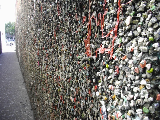 San Luis Obispo - Bubblegum Alley is a tourist attraction in known for its accumulation of used bubble gum on the walls of an alley. It is a 15-foot (4.6 m) high and 70-foot (21 m) long alley lined with chewed gum left by passers-by. It covers a stretch of 20 meters.