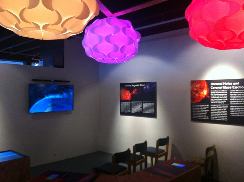 Aurora Center displays describing how solar storms and the sun play into creating the spectacular northern lights.