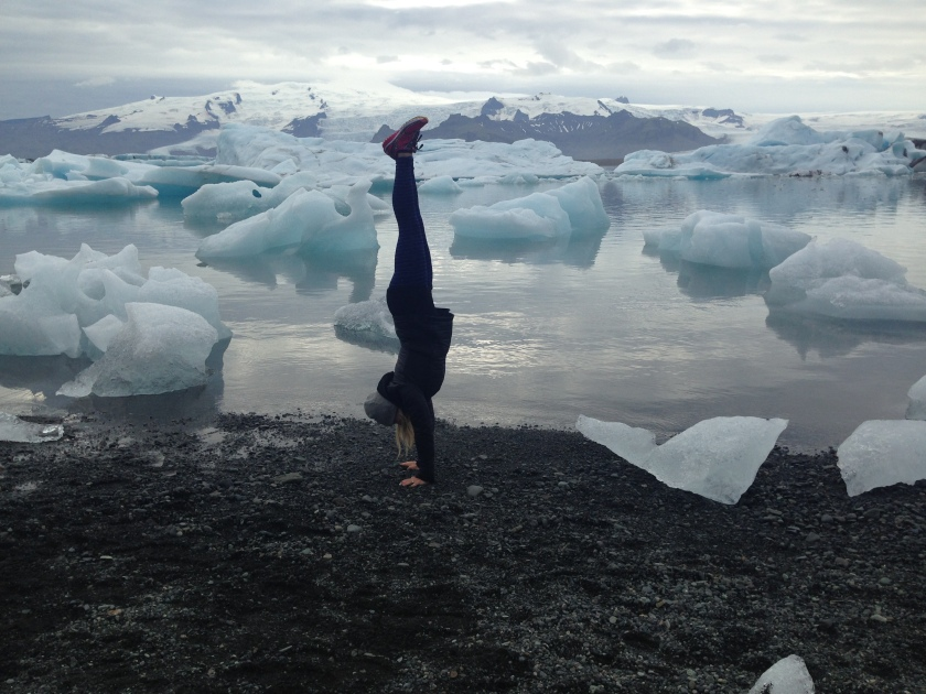 Handstand at Jokulsarlon, South Iceland