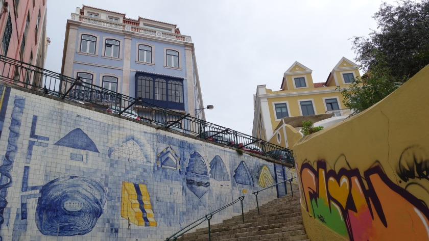 Graffiti covered walls are art in Lisbon.